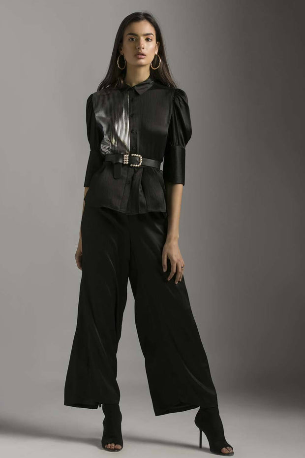 BLACK SHIRT WITH FOIL PRINTED PLEATS - MellowDrama