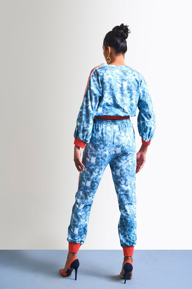 BLUE PRINTED TRACKPANTS - MellowDrama