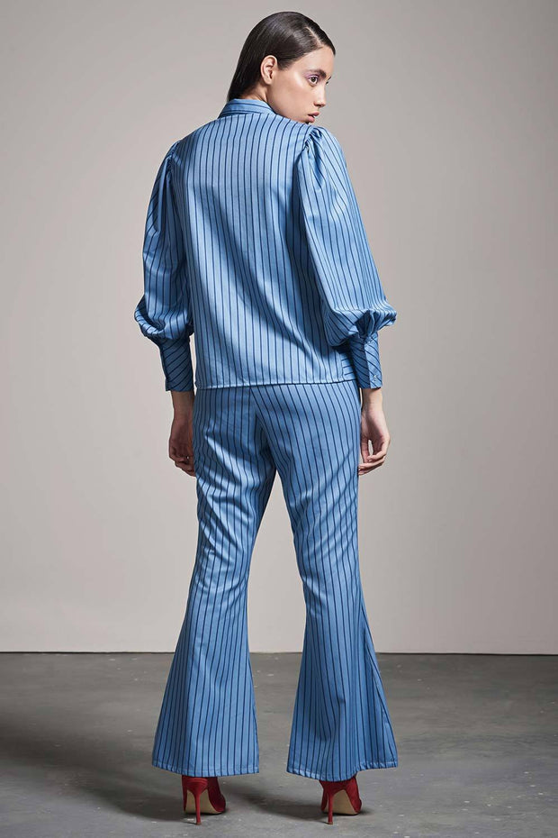 BLUE STRIPE FIT & FLARE PANTS - MellowDrama