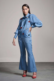 BLUE STRIPE SET WITH MULTICOLOR EMBELLISHMENT - MellowDrama