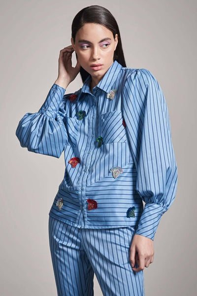 BLUE STRIPE SHIRT WITH MULTICOLOR EMBELLISHMENT - MellowDrama
