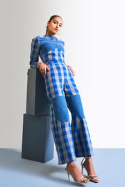 CHECK & DENIM JUMPSUIT - MellowDrama