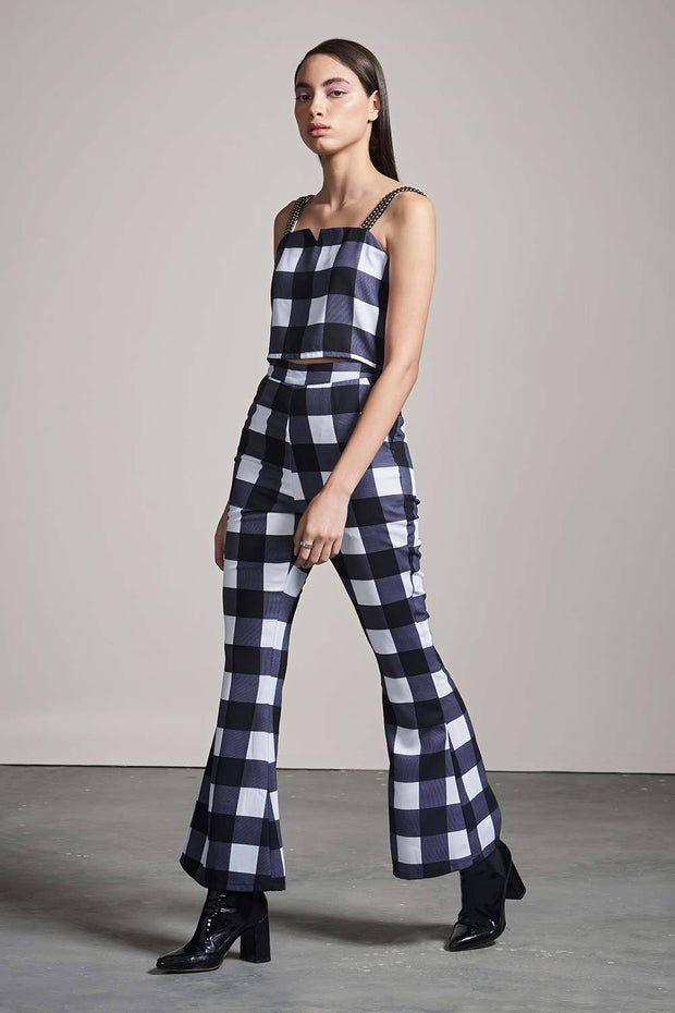 CHECK FIT & FLARE PANTS - MellowDrama