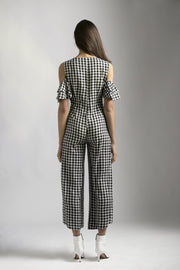 CHECK JUMPSUIT WITH SEQUINS SHEETING - MellowDrama