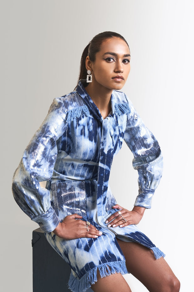 CLOUDWASH DENIM & SEQUINS SHEETING DRESS - MellowDrama