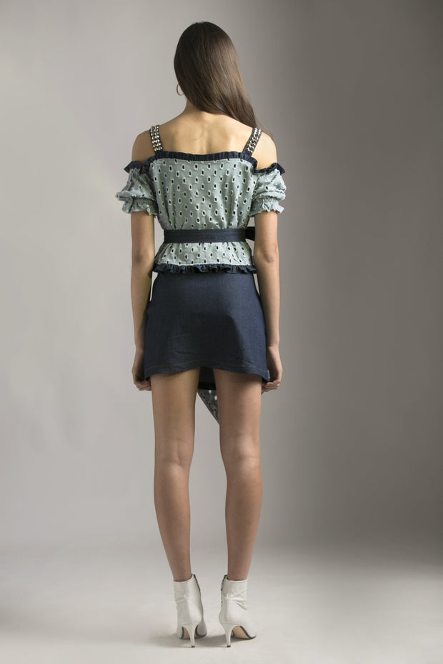 CUTWORK DENIM STUDDED SKIRT - MellowDrama