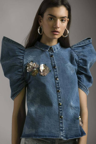 DENIM BONE SHIRT WITH FLORAL EMBELLISHMENT - MellowDrama