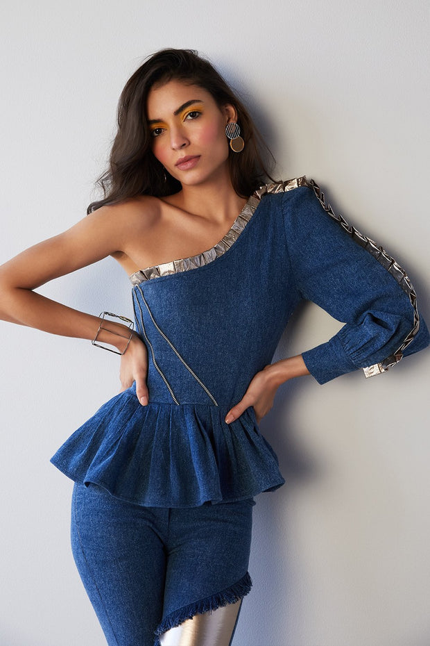 DENIM & GOLDEN ONE SHOULDER TOP - MellowDrama