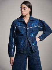 DENIM JACKET WITH BLUE EMBELLISHMENT - MellowDrama