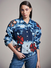 Denim Jacket With Floral Applique - MellowDrama