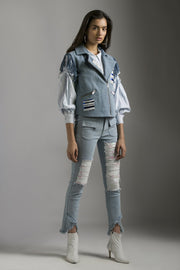 DENIM JEANS WITH RIPPED DETAILS & SEQUINS SHEETING - MellowDrama