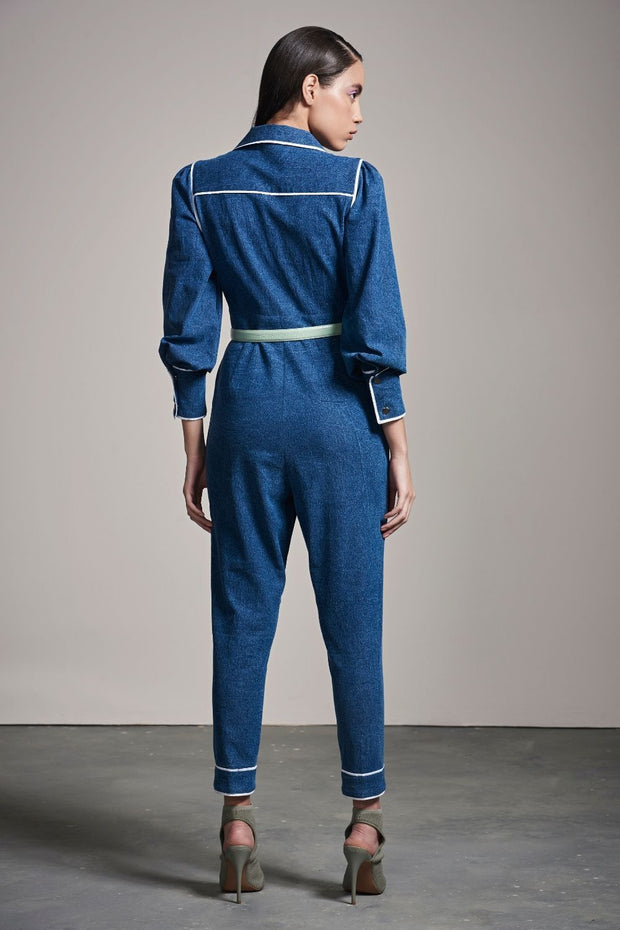 DENIM JUMPSUIT WITH WHITE PIPING - MellowDrama