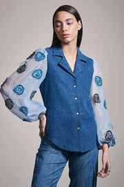 DENIM & ORGANZA SLEEVE SHIRT - MellowDrama