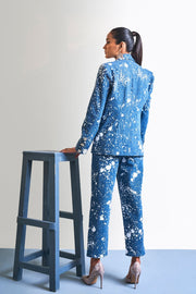 DENIM PAINT SPLASH BLAZER SET - MellowDrama