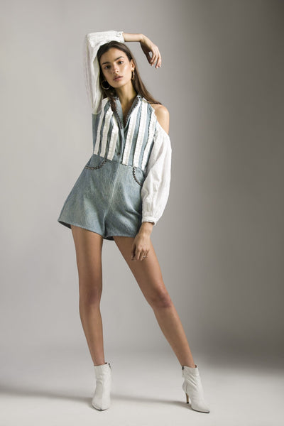 DENIM PLAYSUIT WITH SCHIFFLI SLEEVES - MellowDrama