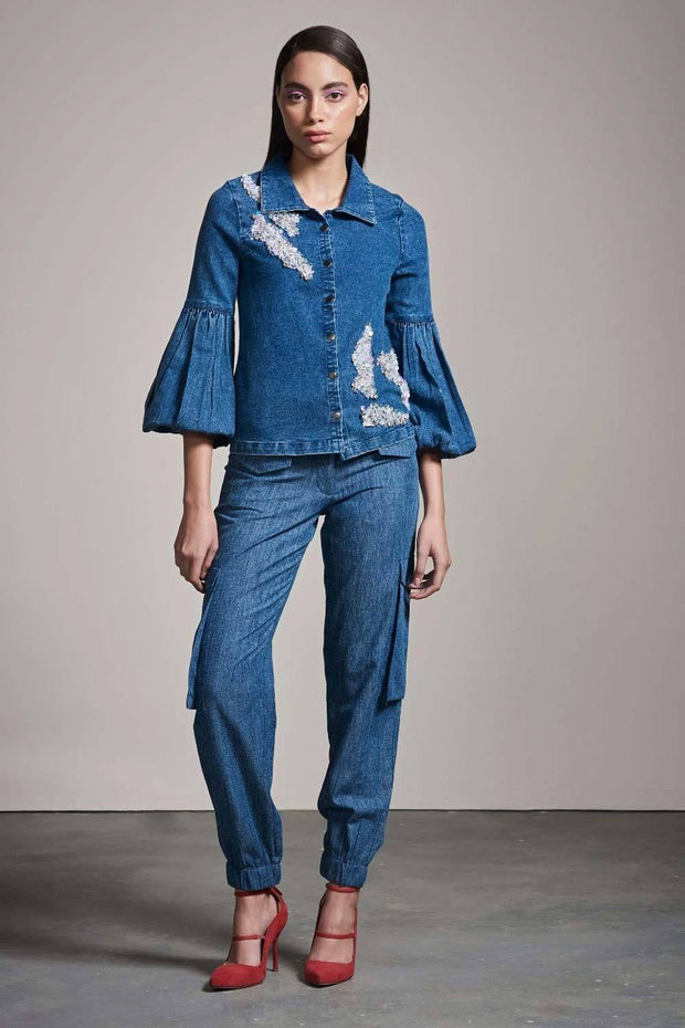 DENIM SHIRT WITH EMBELLISHMENT - MellowDrama