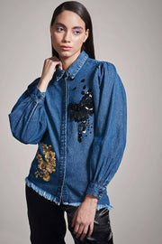 DENIM SHIRT WITH GOLD & BLACK EMBELLISHMENT - MellowDrama