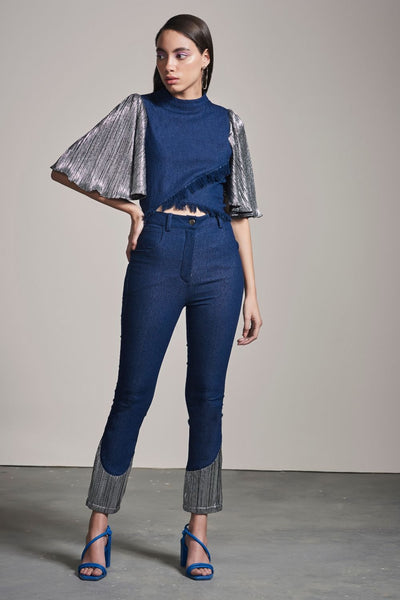 DENIM & SILVER SHIMMER PANTS - MellowDrama