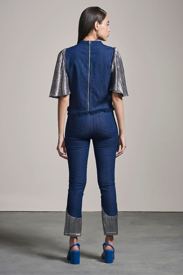 DENIM & SILVER SHIMMER TOP - MellowDrama