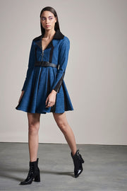 DENIM SUEDE DRESS - MellowDrama