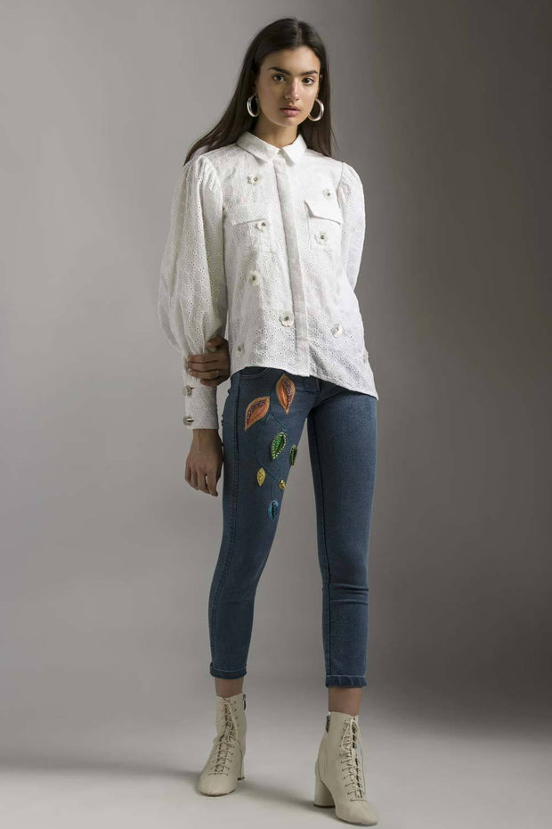 Divya Khosla Kumar in our SCHIFFLI SHIRT WITH ALL OVER FLORAL MOTIF - MellowDrama
