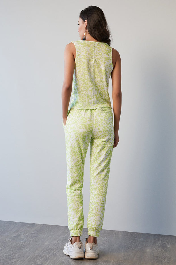 GREEN PRINT JERSEY PANTS - MellowDrama