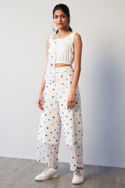 JERSEY & POLKA DOT ORGANZA FLARED PANTS - MellowDrama