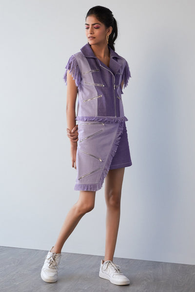 LILAC DENIM SLEEVELESS VEST - MellowDrama