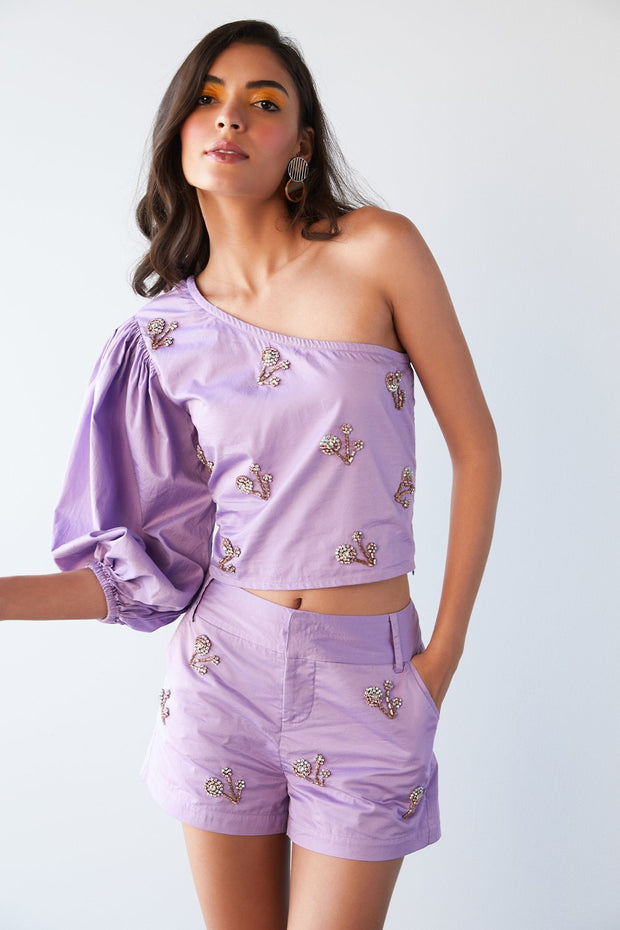 LILAC EMBELLISHED SHORTS - MellowDrama