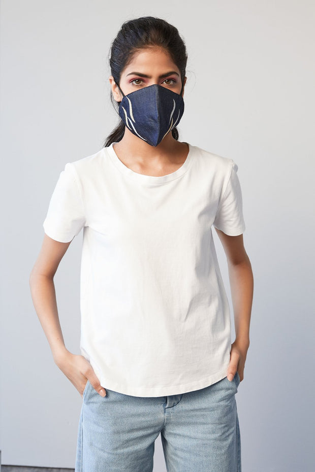 LUREX EMBROIDERED DENIM MASK - MellowDrama