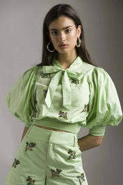 MINT CROP TOP WITH FLORAL EMBELLISHMENT - MellowDrama