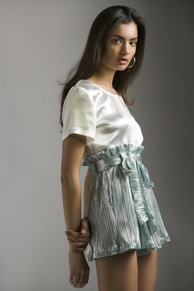 MINT FOIL PLEATED SHORTS - MellowDrama