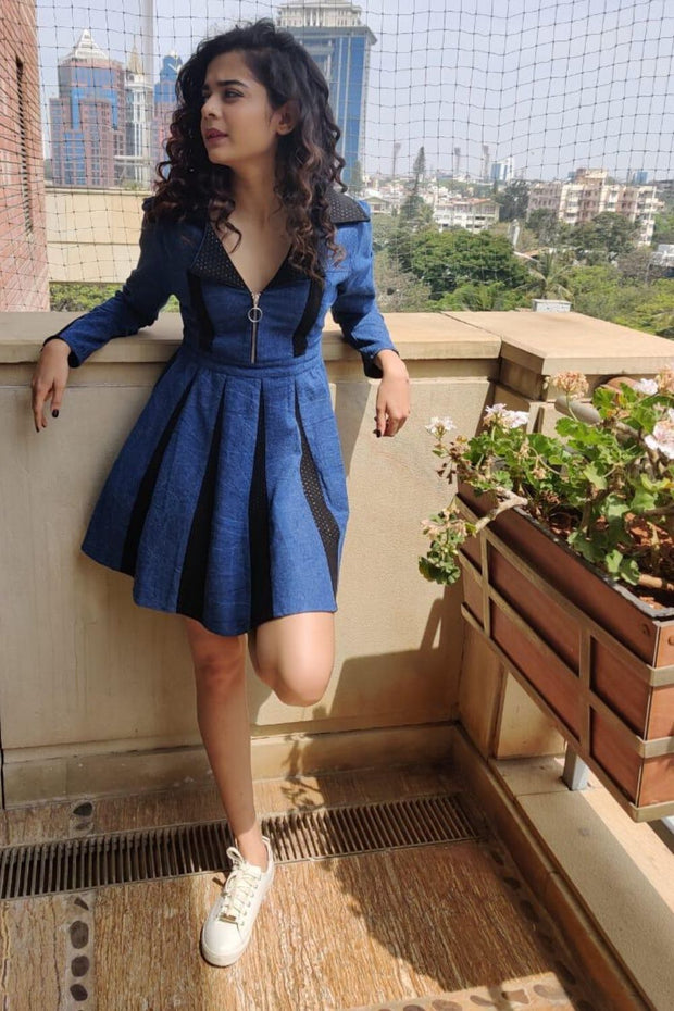 Mithila Palkar DENIM SUEDE DRESS - MellowDrama