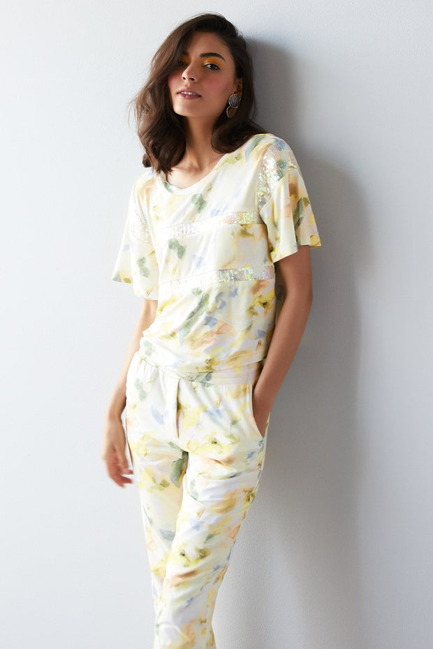 MULTICOLOR PRINT JERSEY COORDINATE SET - MellowDrama