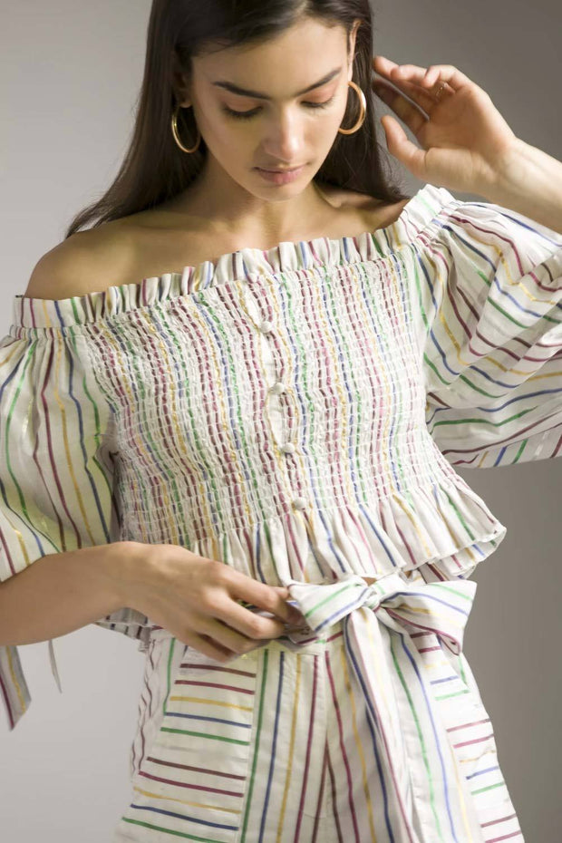 MULTICOLOUR LUREX OFF-SHOULDER TOP - MellowDrama