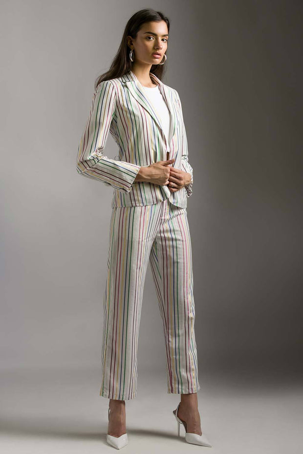 MULTICOLOuR STRIPE LUREX PANTSUIT SET - MellowDrama