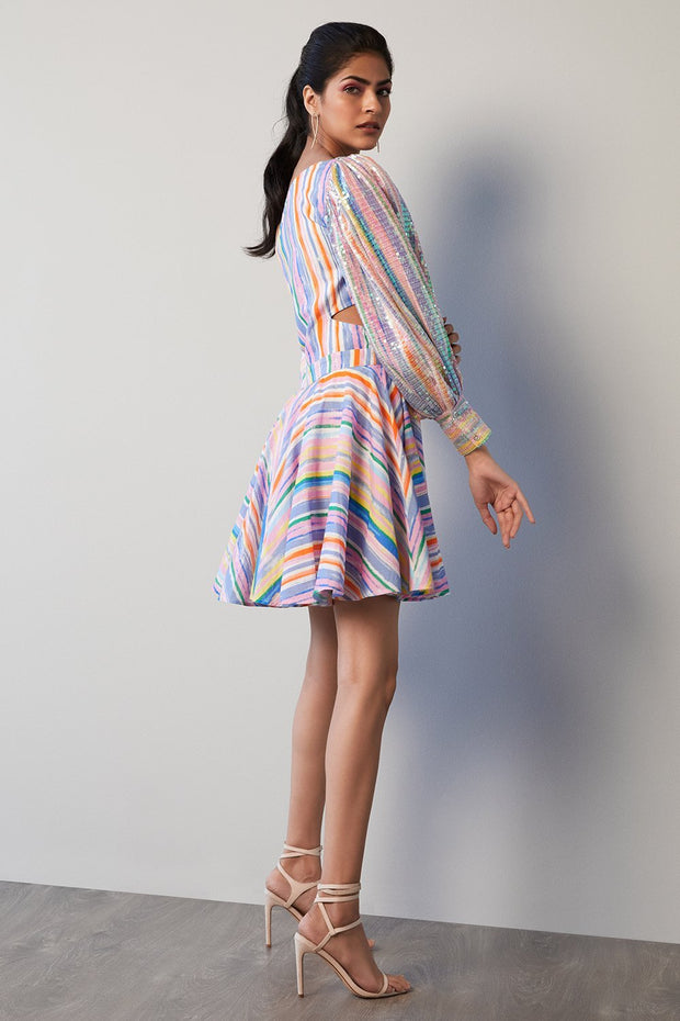 MULTICOLOUR STRIPE ONE SHOULDER DRESS - MellowDrama