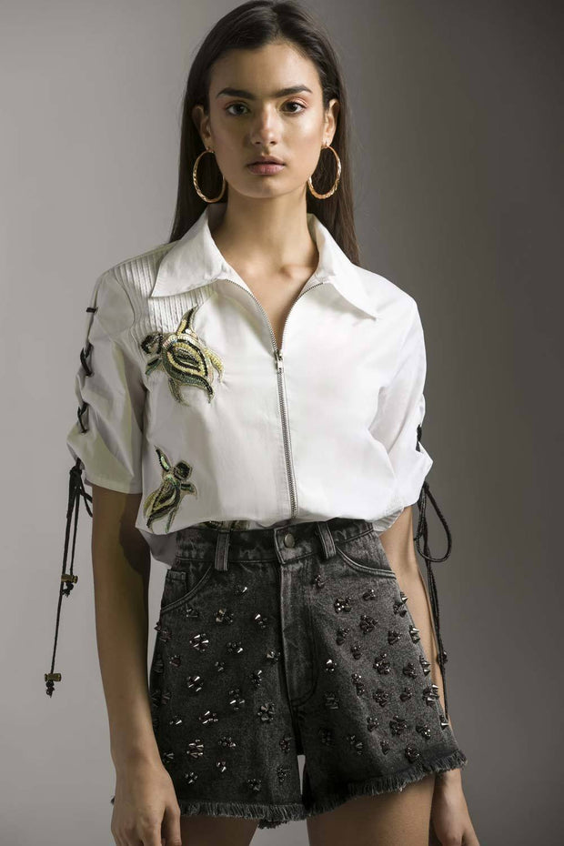 Niki Mehra In our TURTLE EMBELLISHED SHIRT - MellowDrama