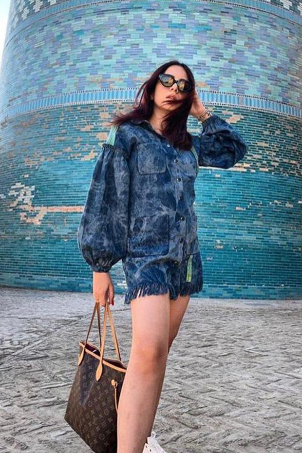 Nitibha Kaul in our Denim Dress With Green Sequins Sheeting - MellowDrama