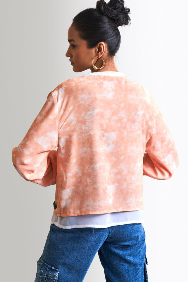 PEACH PRINT & EMBELLISHED TOP - MellowDrama