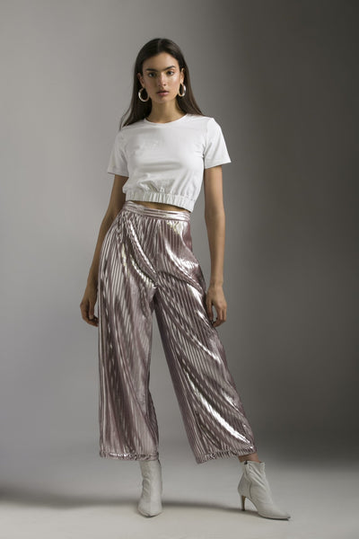 PINK FOIL PLEATED PANTS - MellowDrama