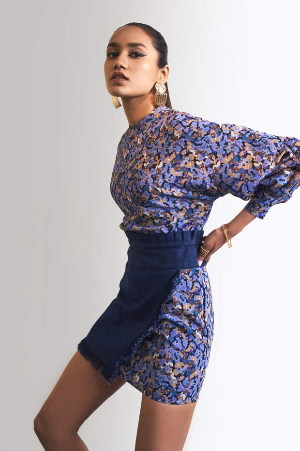 PRINT & DENIM DRESS - MellowDrama