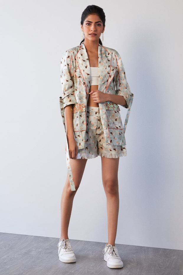 PRINTED BLAZER & SHORTS COORDINATE SET - MellowDrama