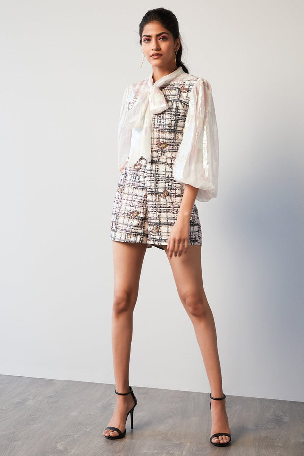 PRINTED CHECK PLAYSUIT - MellowDrama