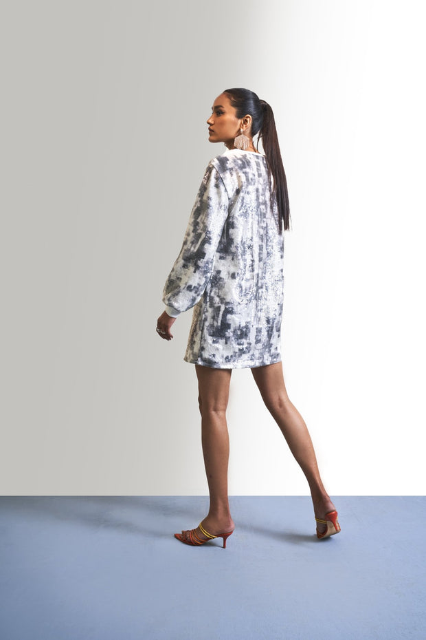 PRINTED SEQUINS SHEETING DRESS - MellowDrama