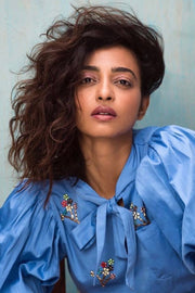 Radhika Apte in our BLUE CROP TOP WITH FLORAL EMBELLISHMENT - MellowDrama