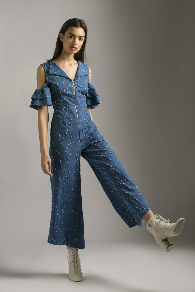 RIPPED DENIM JUMPSUIT - MellowDrama