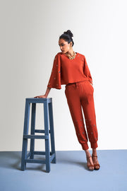 RUST ORANGE EYELET SWEATSHIRT - MellowDrama