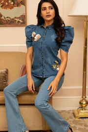 SAMANTHA RUTH PRABHU IN OUR DENIM BONE SHIRT WITH FLORAL EMBELLISHMENT - MellowDrama