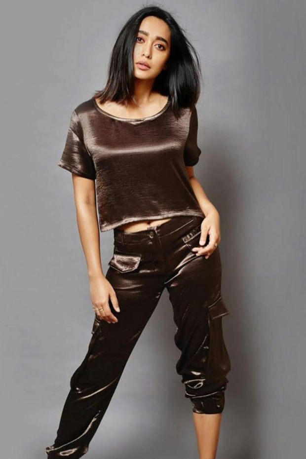 Sayani Gupta in our Brown cargo set - MellowDrama
